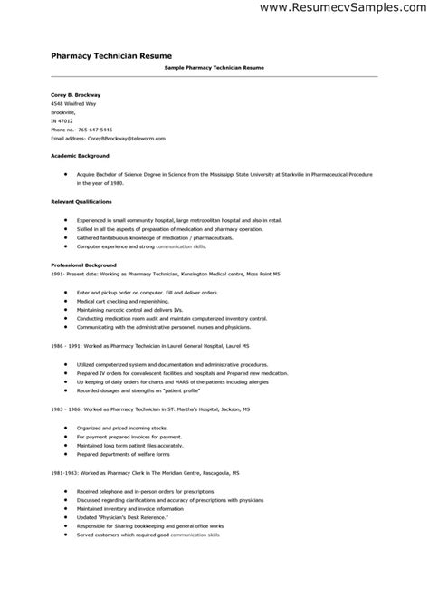 Hospital Pharmacy Technician Sle Resume by Resume Exles For Pharmacy Technician