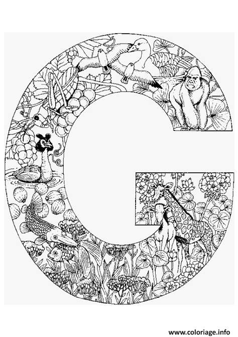 Coloriage Lettre G Alphabet Animaux Dessin