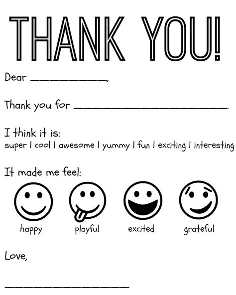 thank you card templates for pages free printable kids thank you cards to color thank you