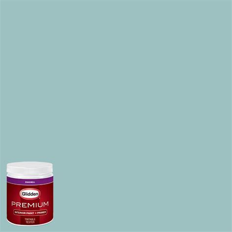 glidden premium 8 oz hdgb24 trattoria teal eggshell interior paint with primer tester hdgb24p