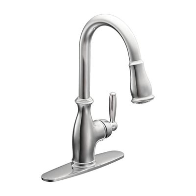 moen aberdeen single handle high arc pulldown kitchen faucet at menards 174 moen 7590csl aberdeen single handle pull down sprayer