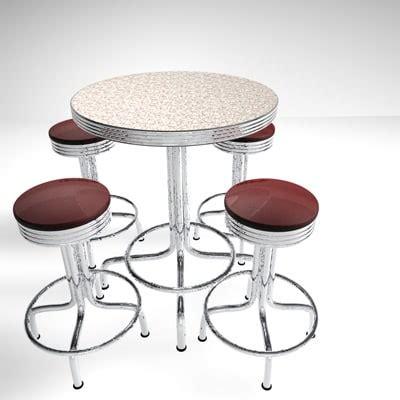 Vintage Bar Table And Stools 3d Retro Pub Table Stools Model