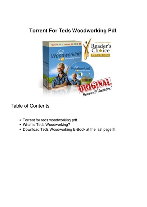 teds woodworking pdf torrent for teds woodworking pdf