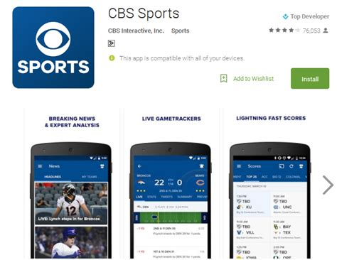 cbs app for android live sports free android