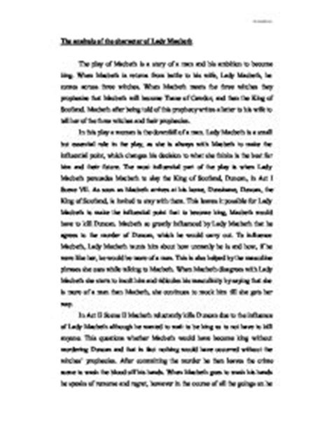 Macbeth Gcse Essay by The Analysis Of The Character Of Macbeth Gcse Marked By Teachers