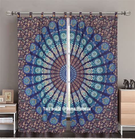 tapestry curtains sale blue multi indie boho 84 inch mandala curtain panel pair