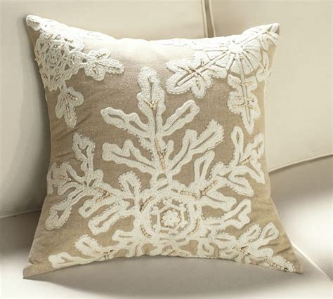 A Decorative Pillow by Neutral Snowflake Embroidered Pillow Cover