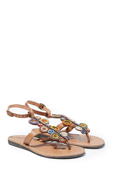 Flat Shoes Aretha Brown Tribal laidback flat mid brown tribal in brown