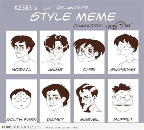 Funny Character Memes - harry potter in different cartoon styles funsubstance