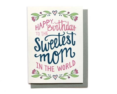 mombirthday card template birthday card sweetest in the world lettered
