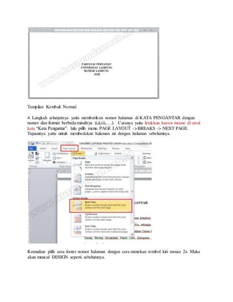 cara membuat nomor halaman agar berbeda cara membuat nomor halaman berbeda pada word