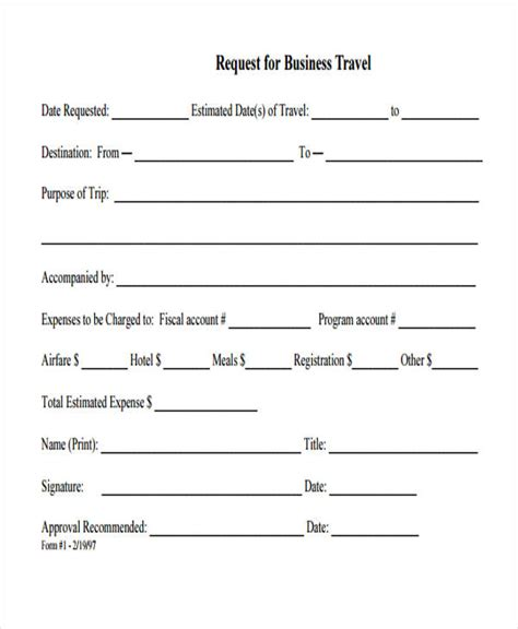 travel request form template word travel request form template