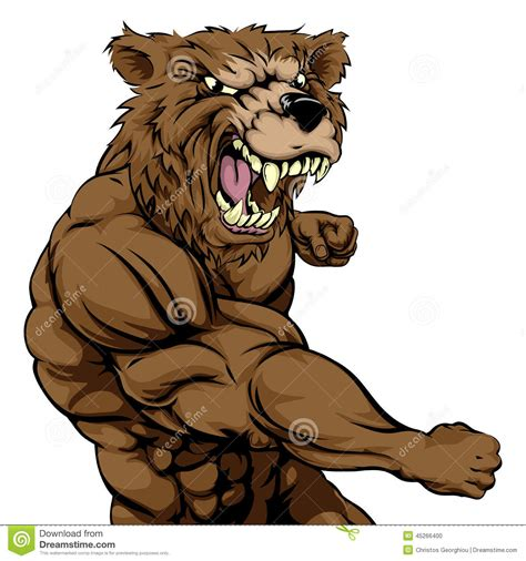 mean bear sports mascot punching stock vector image