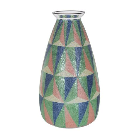 Geometric Vase by Scavo Glass Vase With Colorful Geometric Design Vases