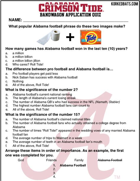 Hops On Bandwagon To Fame by Alabama Crimson Tide Bandwagon Fan Application Quiz