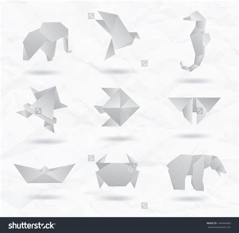 Origami White Paper - free coloring pages set white origami animals symbols