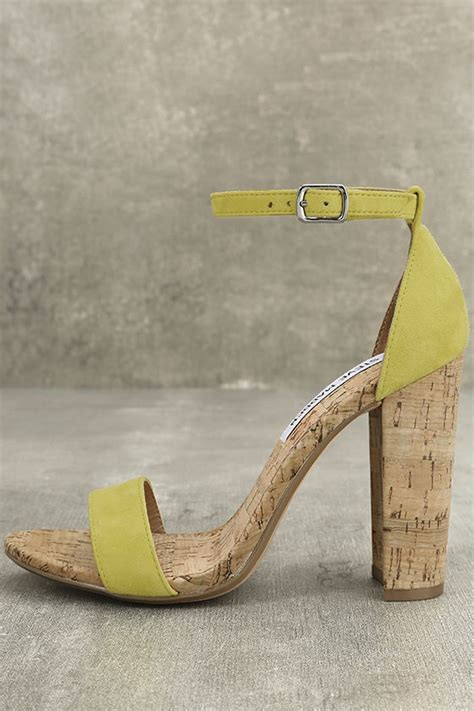 steve madden carson c yellow cork heels suede leather heels ankle heels 89 00