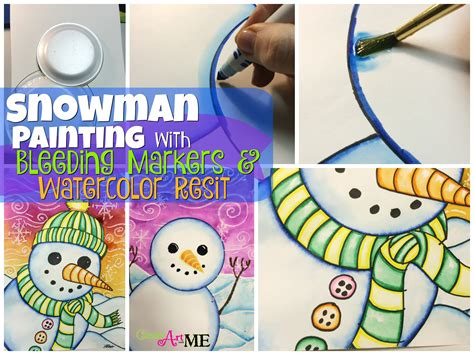 Snowman Marker snowman painting with markers watercolor resist