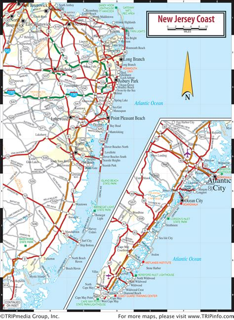 road map new jersey usa new jersey coast map