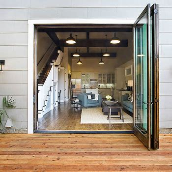 Fully Opening Patio Doors Gray Steel Patio Doors With Glass Panels Transitional Deck Patio