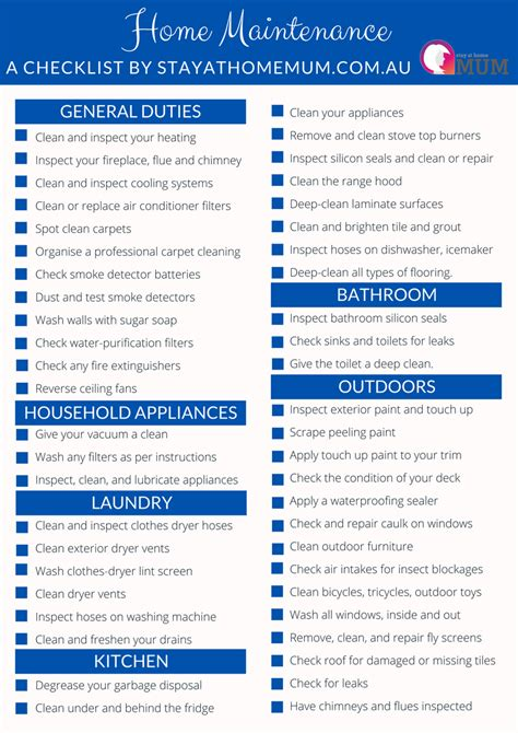 home maintenance checklist stay at home