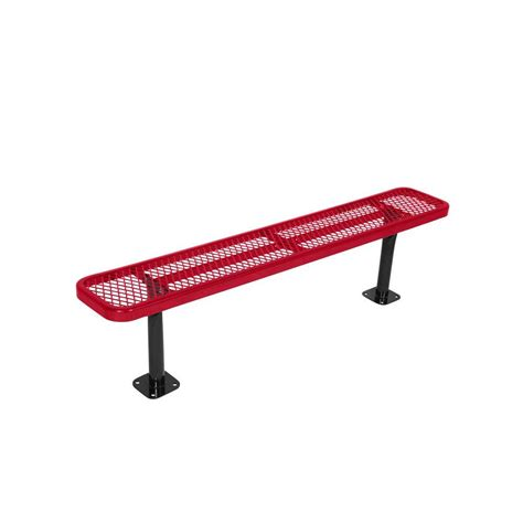 red park bench surface mount 6 ft red diamond commercial park bench without back lc7863 red the