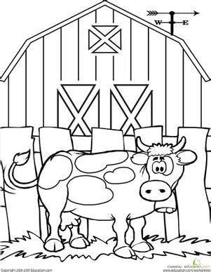 preschool cow coloring page cow worksheet education com