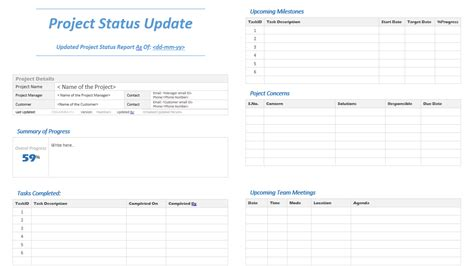 template project update report template status word templates