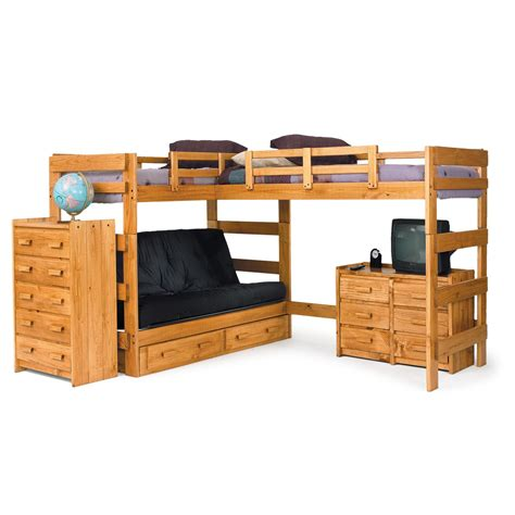loft bed with below chelsea home l shaped bunk bed reviews wayfair