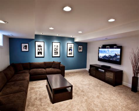 Ideas Basement Wall Colors Awesome Basement Remodel Decorating Ideas Sleek Minimalist Media Room Brown Sofa Foxgate