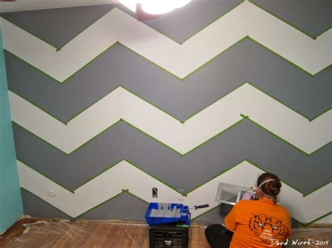 wall pattern with paint geometric triangle wall paint design idea with tape diy