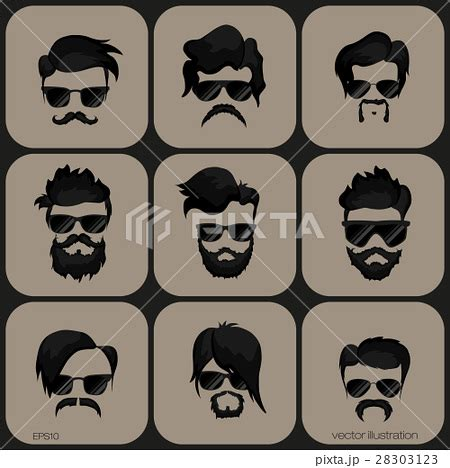 S Hairstyle Glasses Beard by Mustache Beard Glasses Hairstyleのイラスト素材 28303123 Pixta