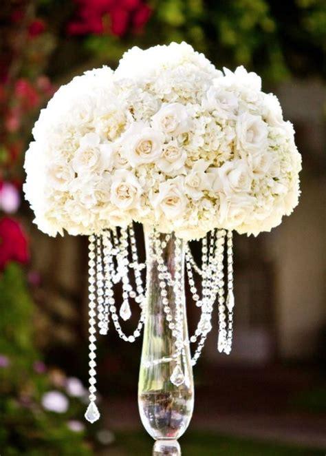 Flower Wedding Reception Centerpieces by White Glass Vase Wedding Reception Centerpiece