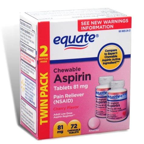 Equate Chewable Low Dose Aspirin equate aspirin 81 mg low dose cherry flavor 72 chewable tablets compare to bayer children