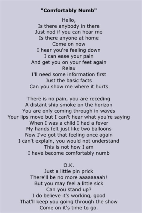 lyrics for comfortably numb pink floyd song lyrics pinterest pink floyd songs