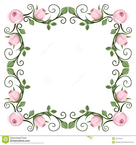 Pink Peonies Nursery by Vintage Calligraphic Frame With Pink Roses Vector