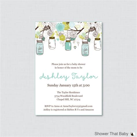 Jar Baby Shower Invitations by Jar Baby Shower Invitation Printable Or Printed Invite
