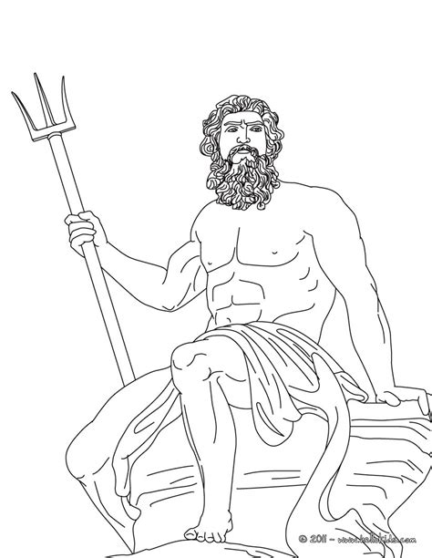 poseidon face black and white coloring pages