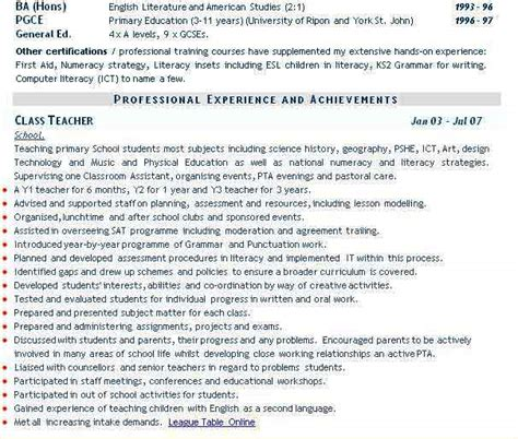 curriculum vitae for teachers chemistry lecturer resume sles