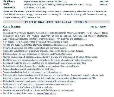 Curriculum Vitae Sles Of Teachers Teaching Cv Exle Cv Curriculum Vitae Service