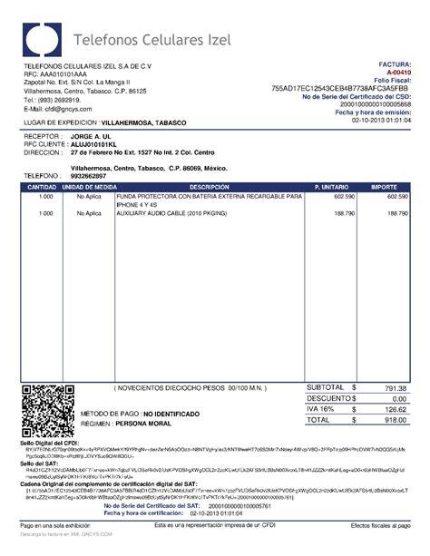 formato de una requsici 243 n ejemplo de factura electronica mexico formato de factura