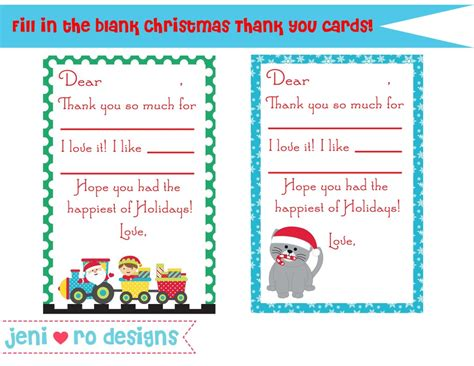 printable christmas present thank you cards christmas thank you notes for kids free printable