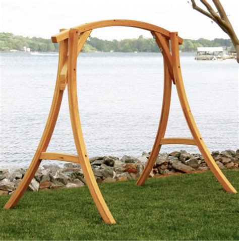 swing and things the hatteras 174 cypress curved arc swing stand swings n