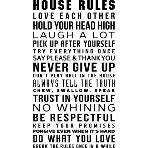 house rules design com sticker house rules design stickers citations anglais