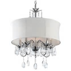 Pendant And Chandelier Lighting White Drum Shade Chandelier Pendant Light 2234 Wh Destination Lighting