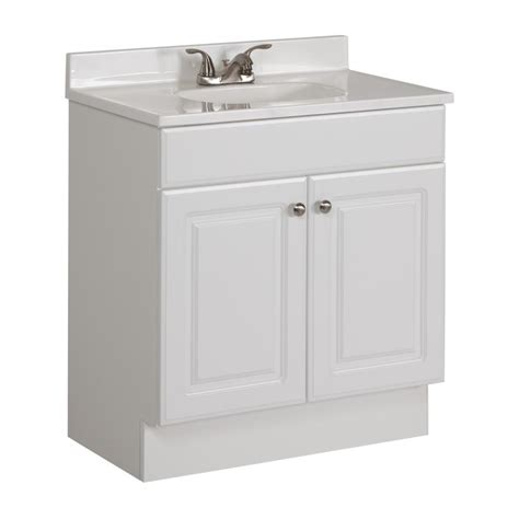 White Bathroom Vanity With Sink Shop Project Source White Integrated Single Sink Bathroom Vanity With Cultured Marble Top