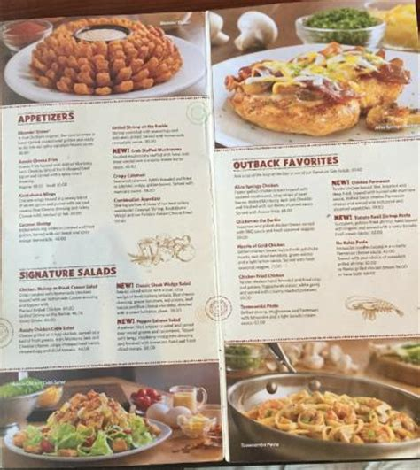 outback steak house menu menu picture of outback steakhouse riyadh tripadvisor