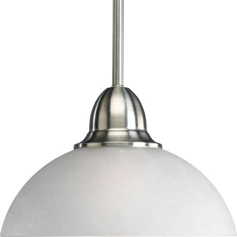 Brushed Nickel Pendant Lighting Shop Progress Lighting Pavilion 9 875 In Brushed Nickel Mini Etched Glass Dome Pendant At Lowes
