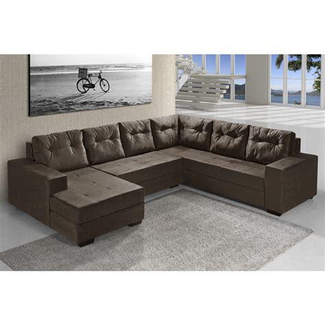 sofas en l sof 225 de canto l r 4 lugares e chaise chocolate marrom r