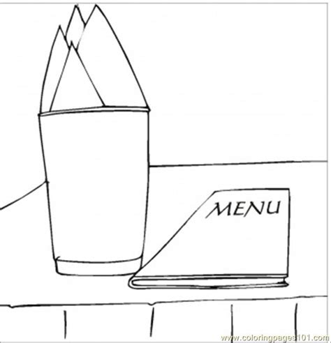 menu and napkins coloring page free kitchenware coloring